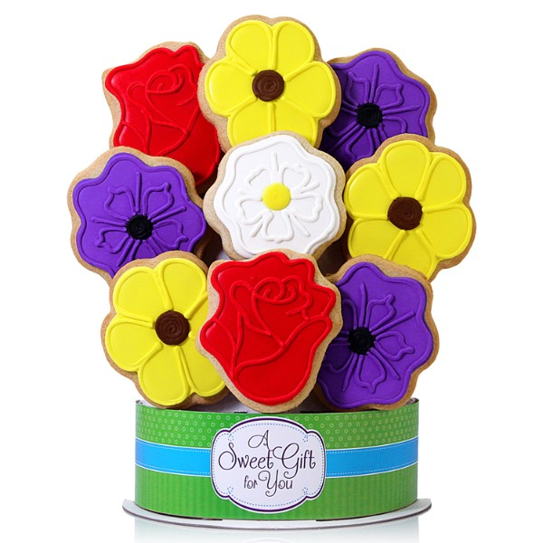 Wild Flowers 9 Piece Cookie Bouquet