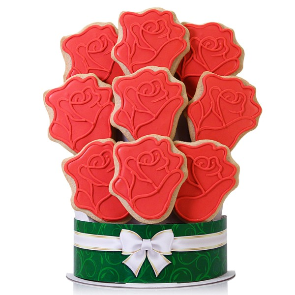 Red Roses 9 Piece Cookie Bouquet