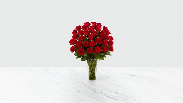 The Long Stem Red Rose Bouquet - 36 Stems - VASE INCLUDED - Image 1 Of 2