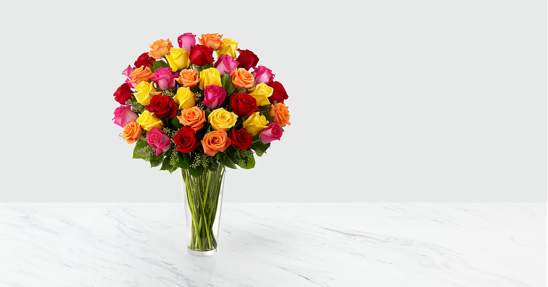 The Bright Spark™ Rose Bouquet - VASE INCLUDED - Image 1 Of 2