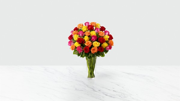 The Bright Spark™ Rose Bouquet - VASE INCLUDED - Thumbnail 1 Of 2