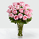 The Long Stem Pink Rose Bouquet - VASE INCLUDED - Thumbnail 1 Of 2