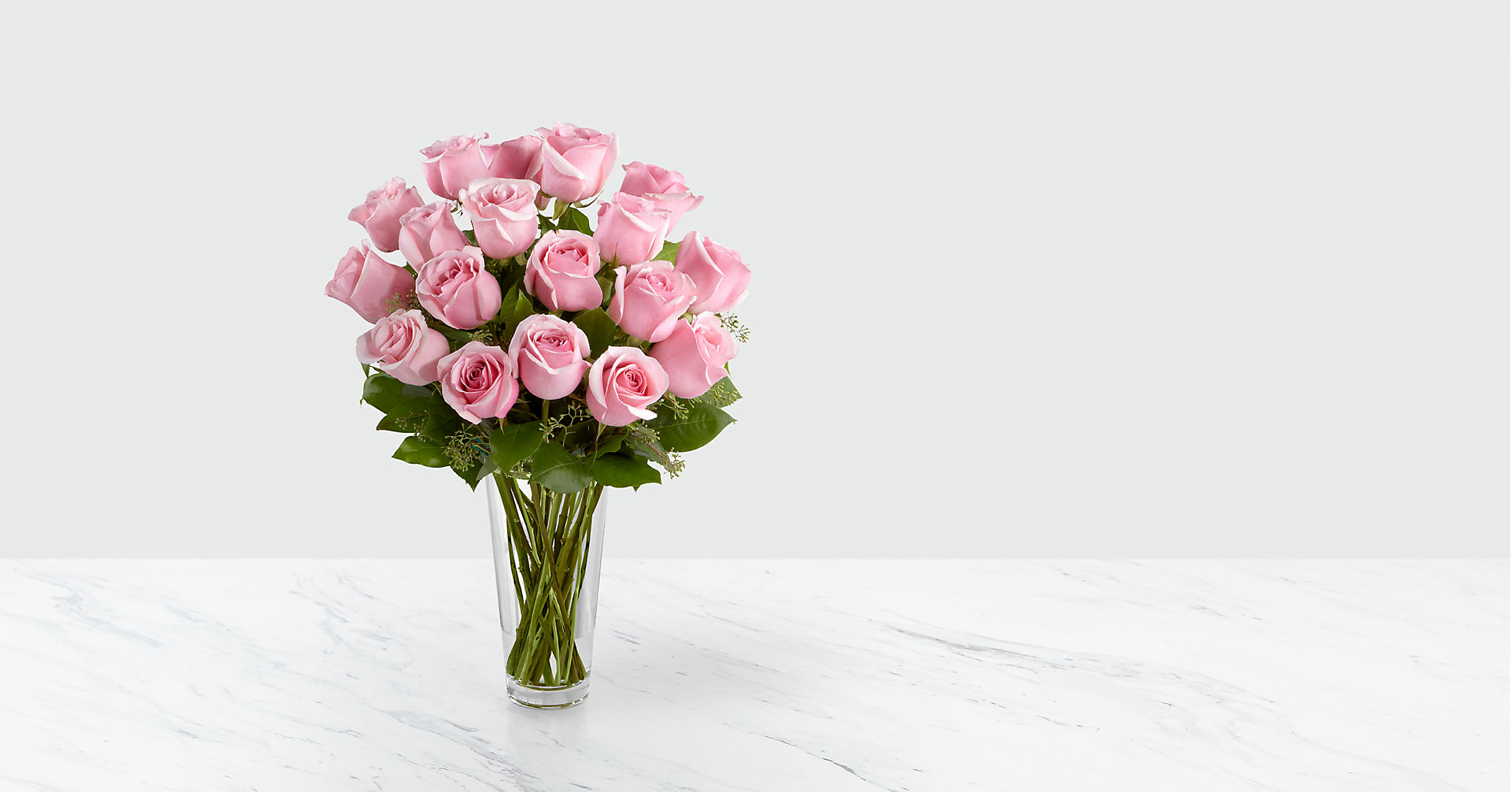The Long Stem Pink Rose Bouquet - VASE INCLUDED - Image 1 Of 2
