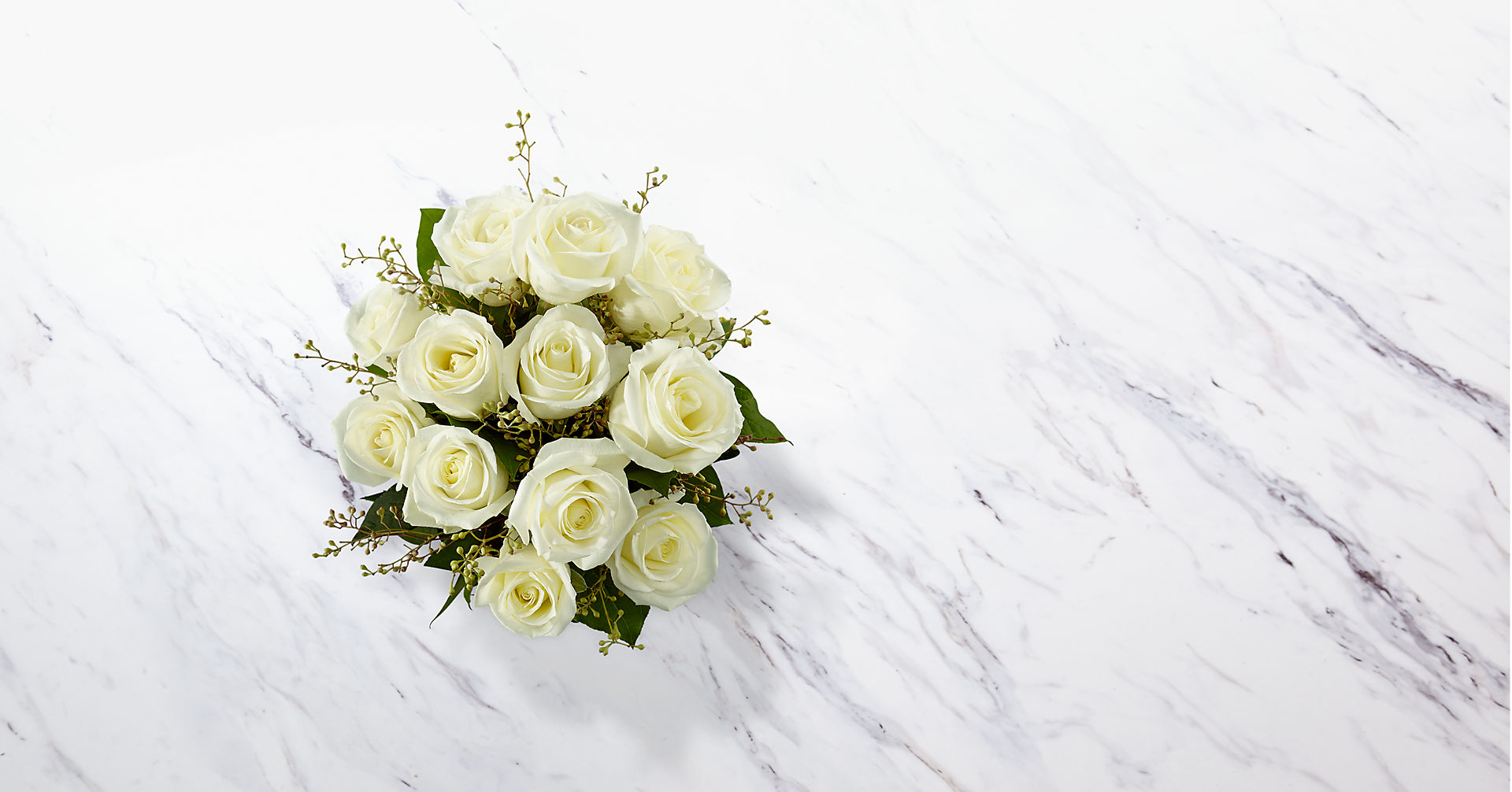The White Rose Bouquet - VASE INCLUDED - Image 2 Of 2