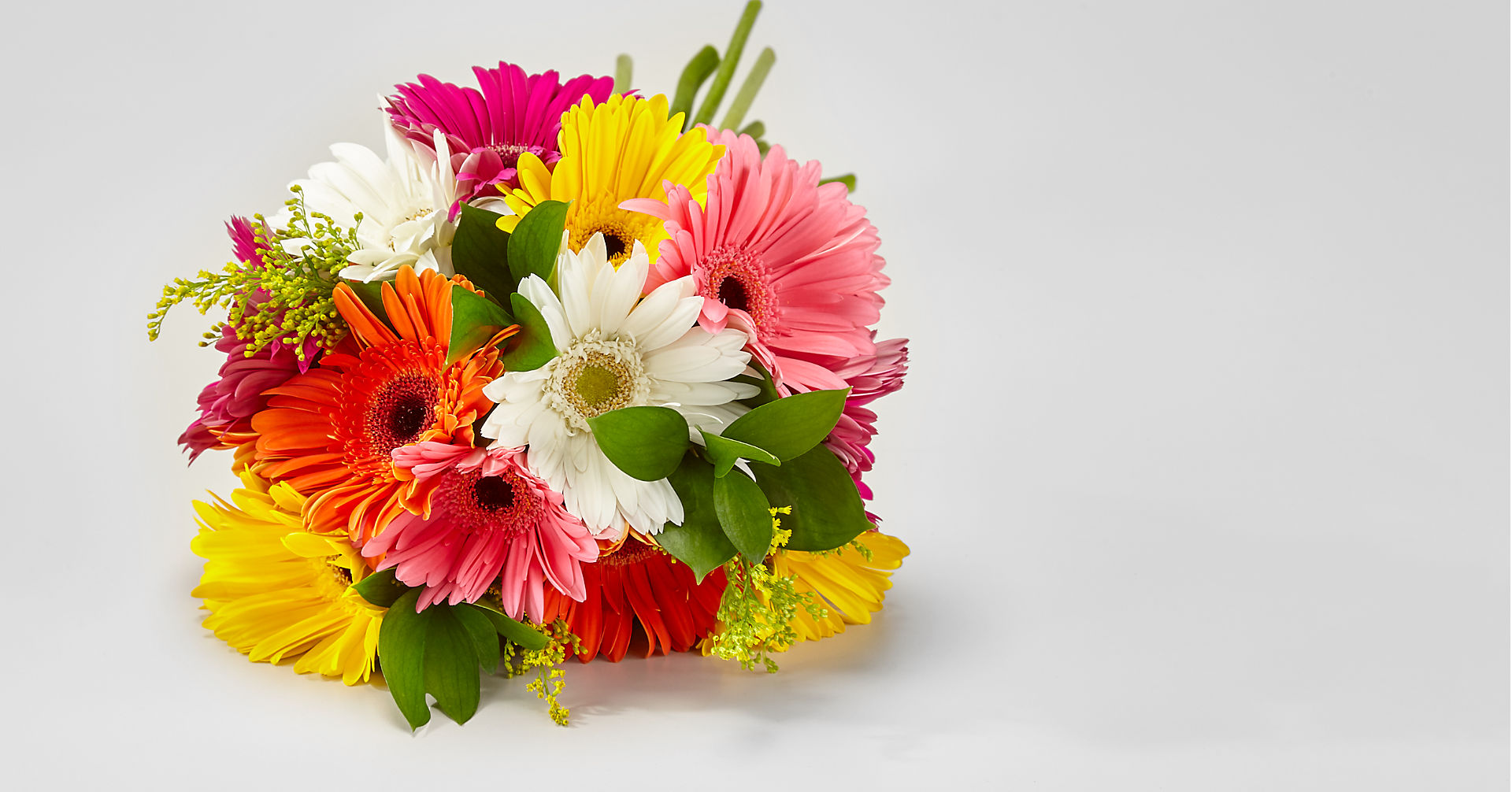 Colorful World Gerbera Daisy Bouquet - 15 Stems - VASE INCLUDED - Image 2 Of 4