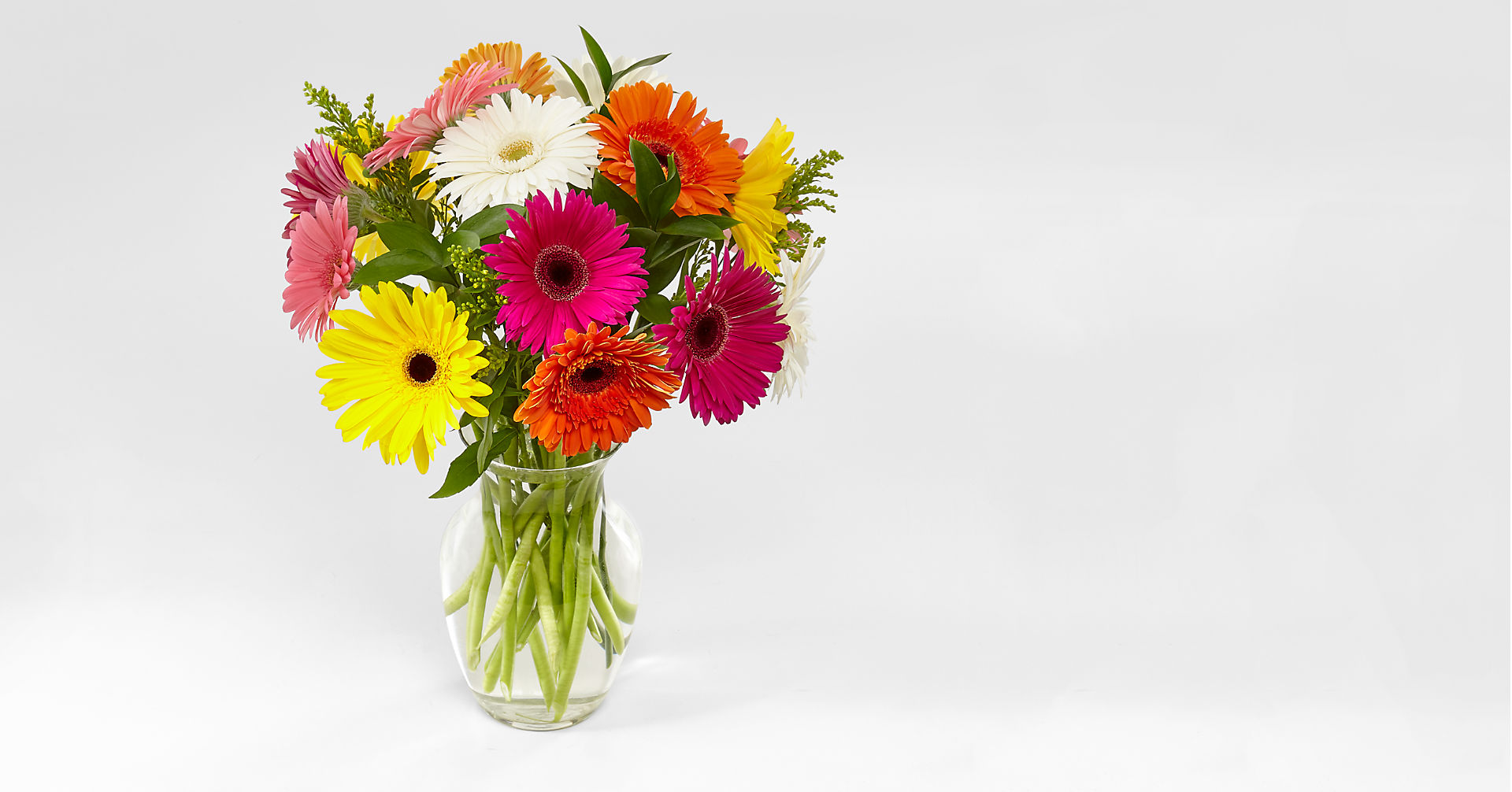 Colorful World Gerbera Daisy Bouquet - 15 Stems - VASE INCLUDED - Image 1 Of 4