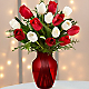Merry Moments Holiday Tulip Bouquet- 15 Stems- VASE INCLUDED - Thumbnail 1 Of 2