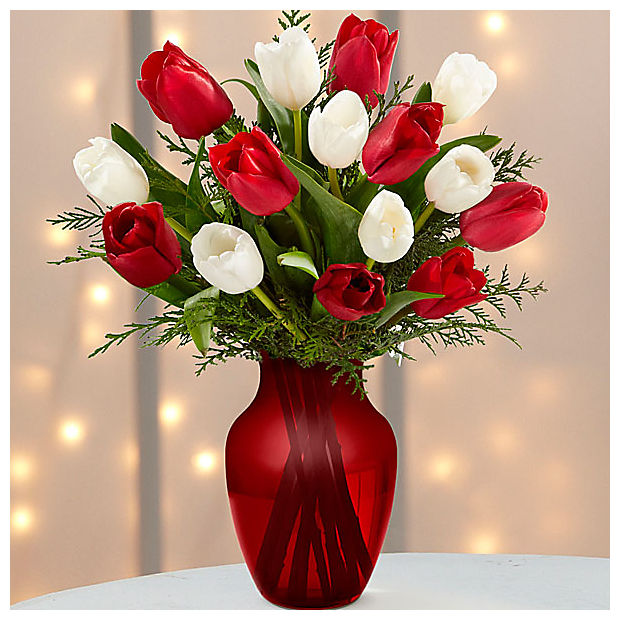 Merry Moments Holiday Tulip Bouquet- 15 Stems- VASE INCLUDED - Image 1 Of 2