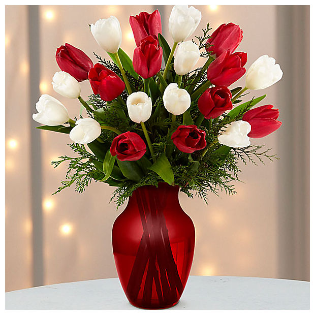 Merry Moments Holiday Tulip Bouquet - 20 Stems- VASE INCLUDED - Image 1 Of 2