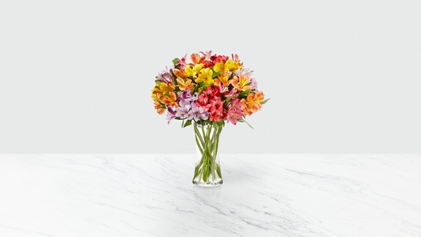 Rainbow Discovery Peruvian Lily Bouquet - 50 Blooms - VASE INCLUDED - Image 2 Of 4