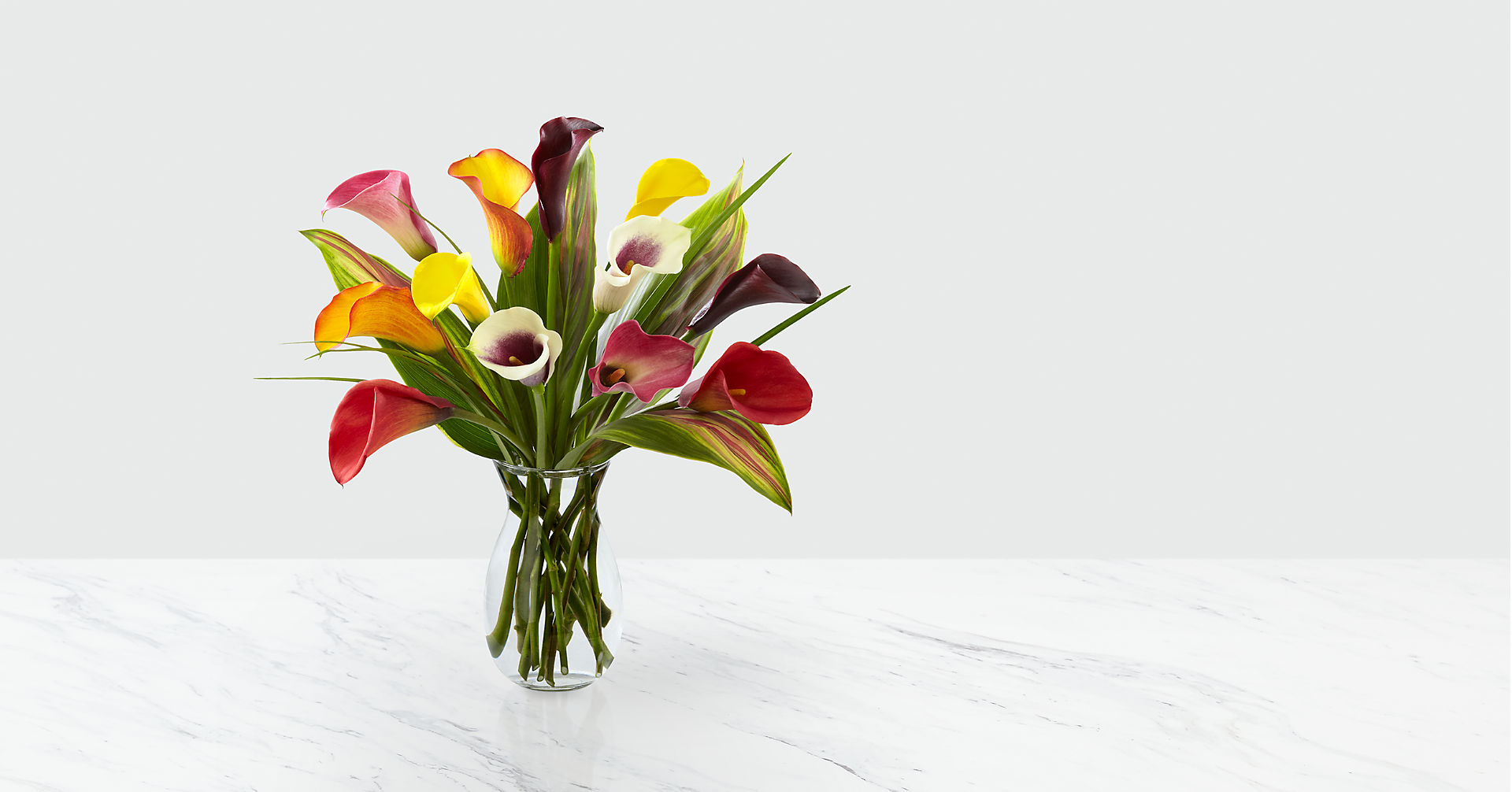 Captured Color Calla Lily Bouquet - 12 stems - VASE INCLUDED - Image 2 Of 3