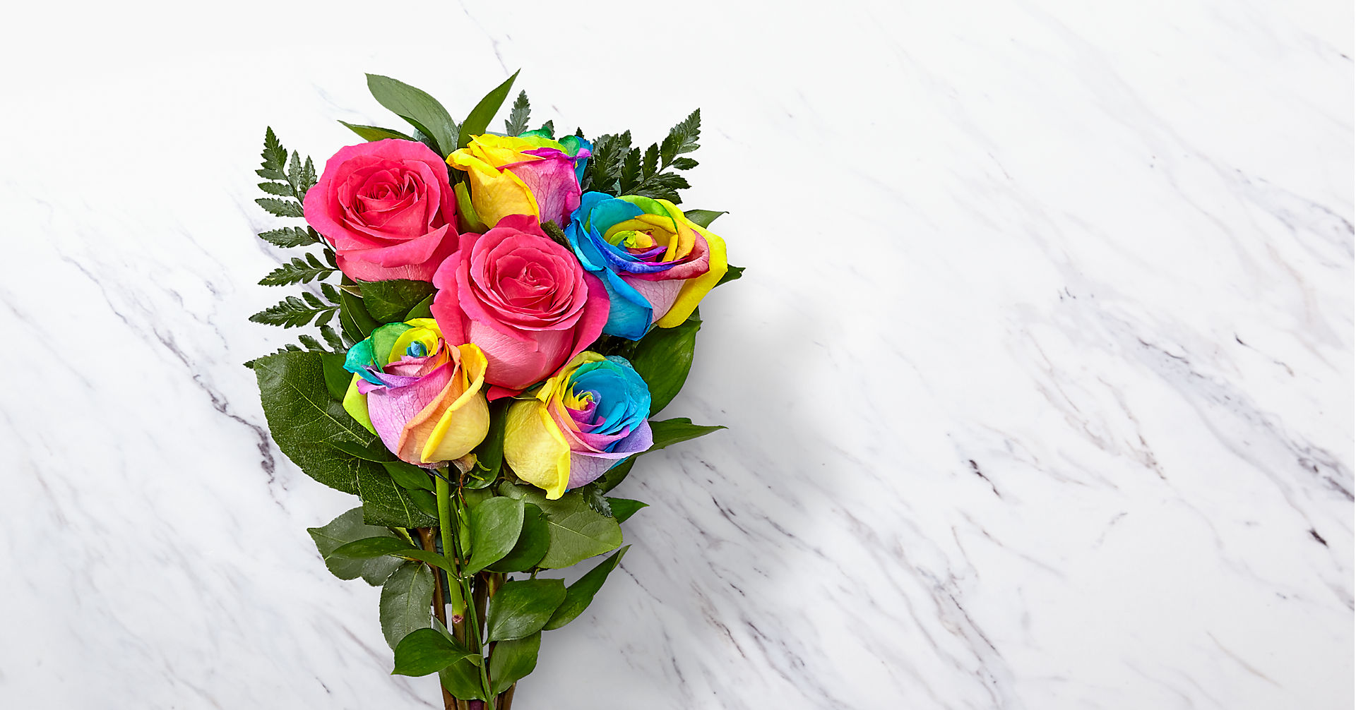 Time to Celebrate Rainbow Rose Bouquet - 6 Stems - VASE INCLUDED - Image 1 Of 5