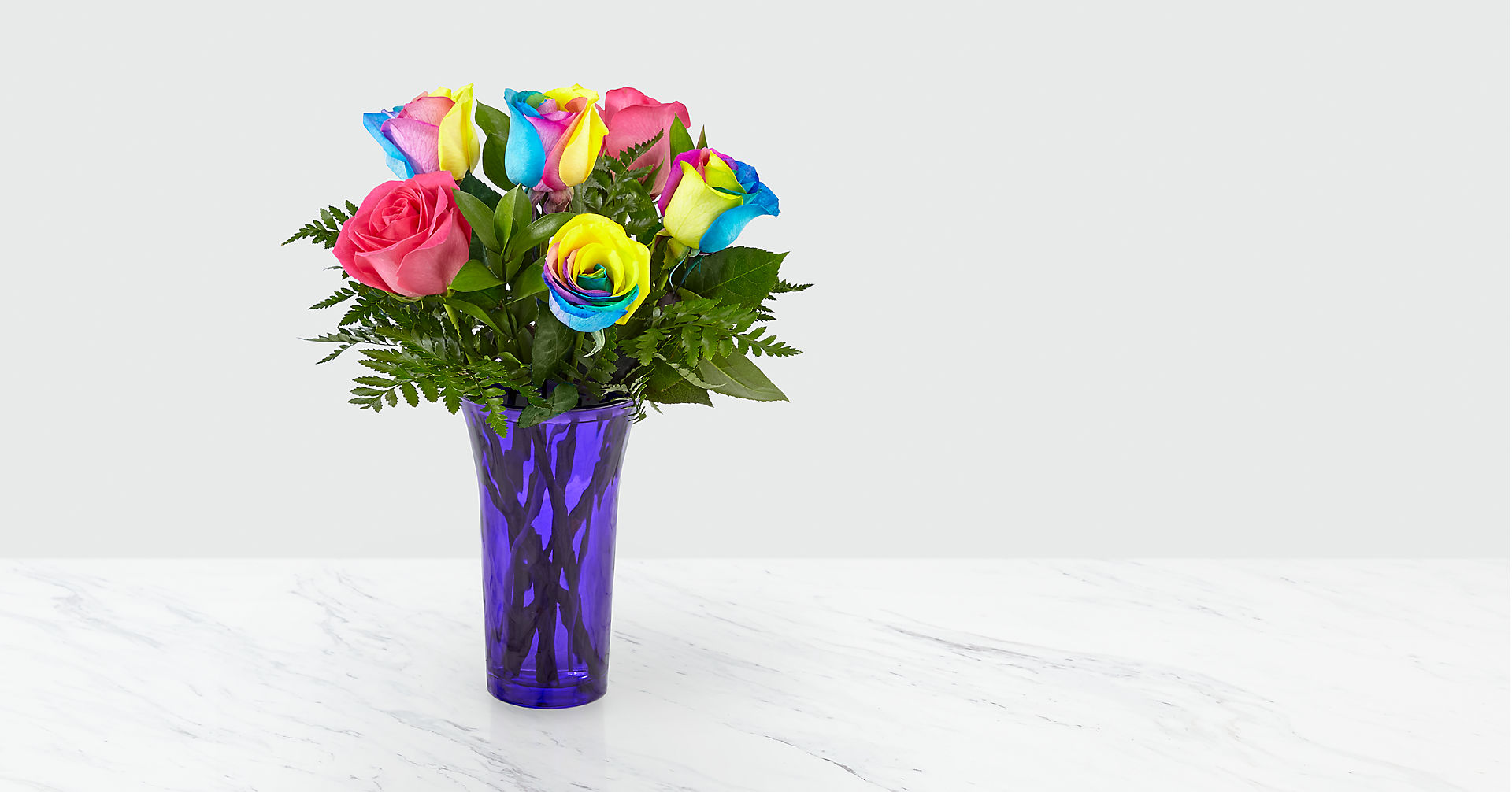 Time to Celebrate Rainbow Rose Bouquet - 6 Stems - VASE INCLUDED - Image 2 Of 5