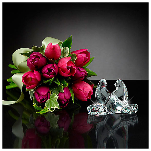 Wings of Love Tulip Bouquet with Baccarat® Crystal Loving Doves - Image 1 Of 2