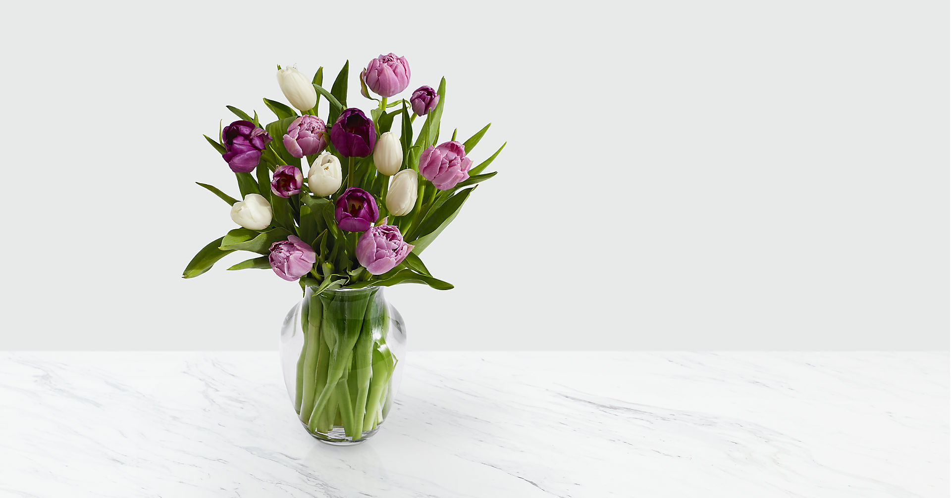Darling Lavender & White Tulips with Vase - Image 1 Of 2