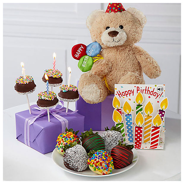 Belgian Chocolate Dipped Birthday Berry, Brownie Pop, Bear & Card - Image 1 Of 3