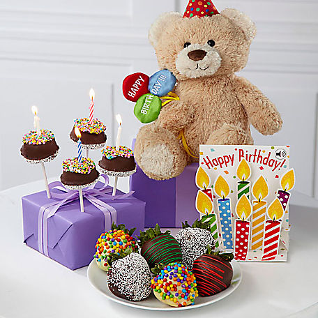 Belgian Chocolate Dipped Birthday Berry Brownie Pop Bear Card