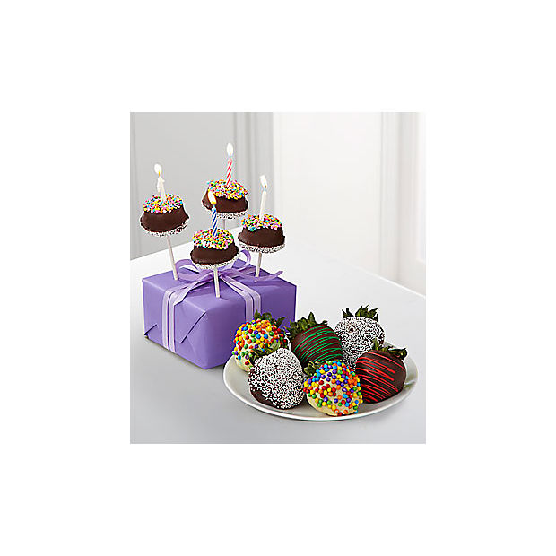 Belgian Chocolate Dipped Birthday Berry, Brownie Pop, Bear & Card - Image 3 Of 3