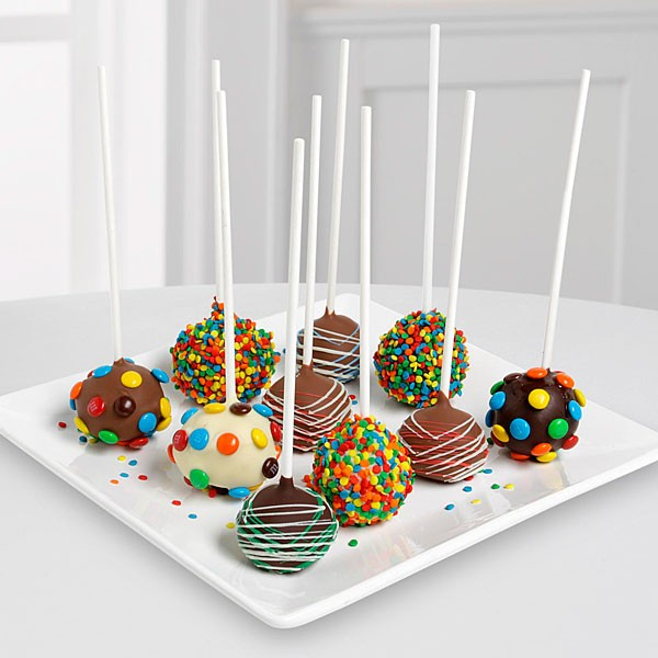 Belgian Chocolate Dipped Birthday Celebration Cake Pops-10-piece