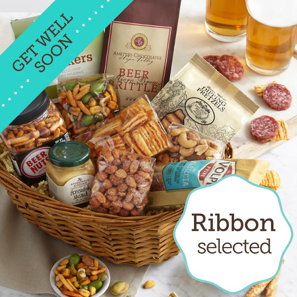 Simply Beer Snacks Basket with Get Well Ribbon