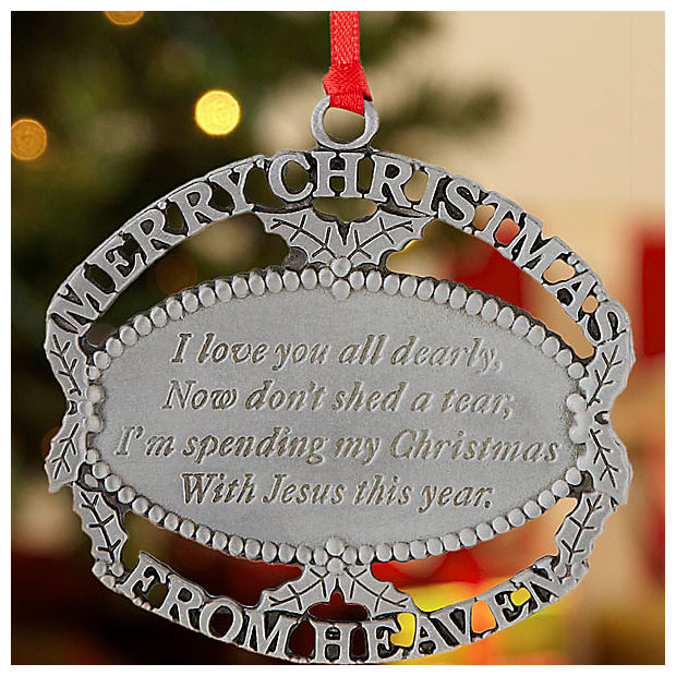 Personal Creations Merry Christmas From Heaven Ornament Pewter