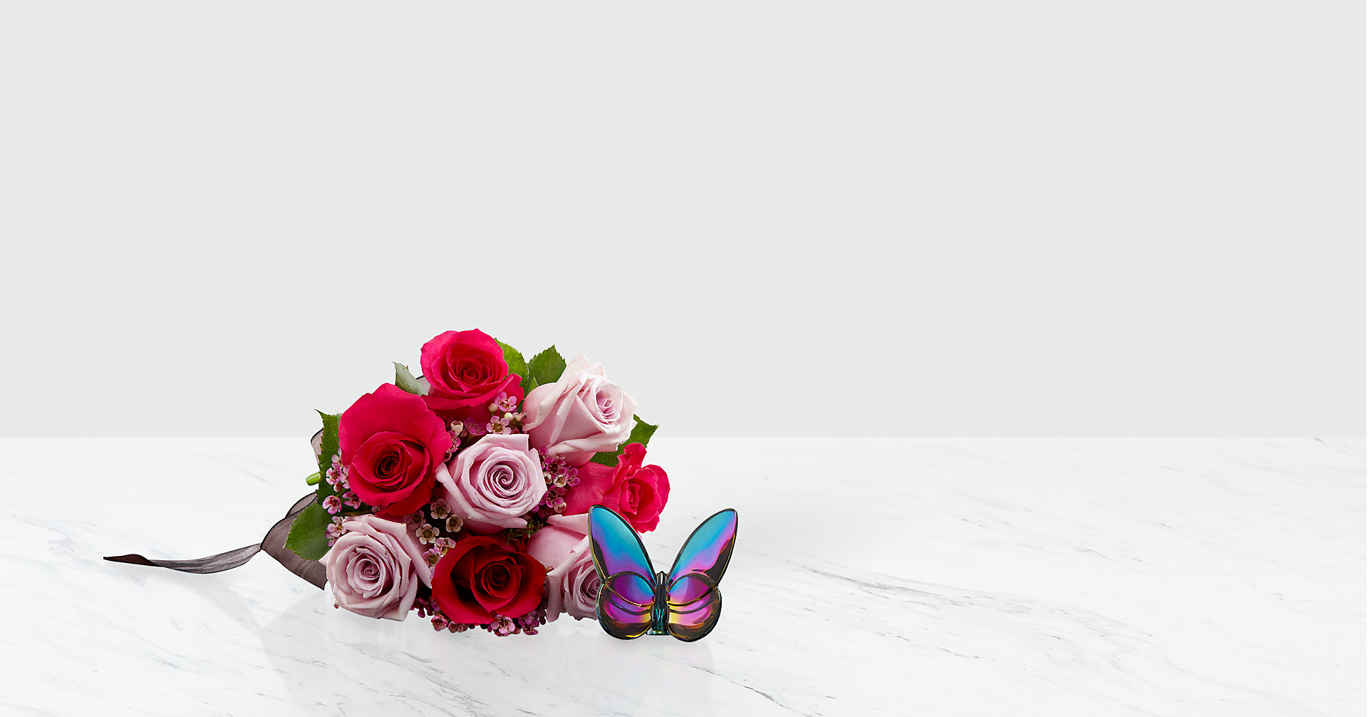 Blooming Insights Bouquet with Baccarat® Blue Scarabee Butterfly - Image 1 Of 2