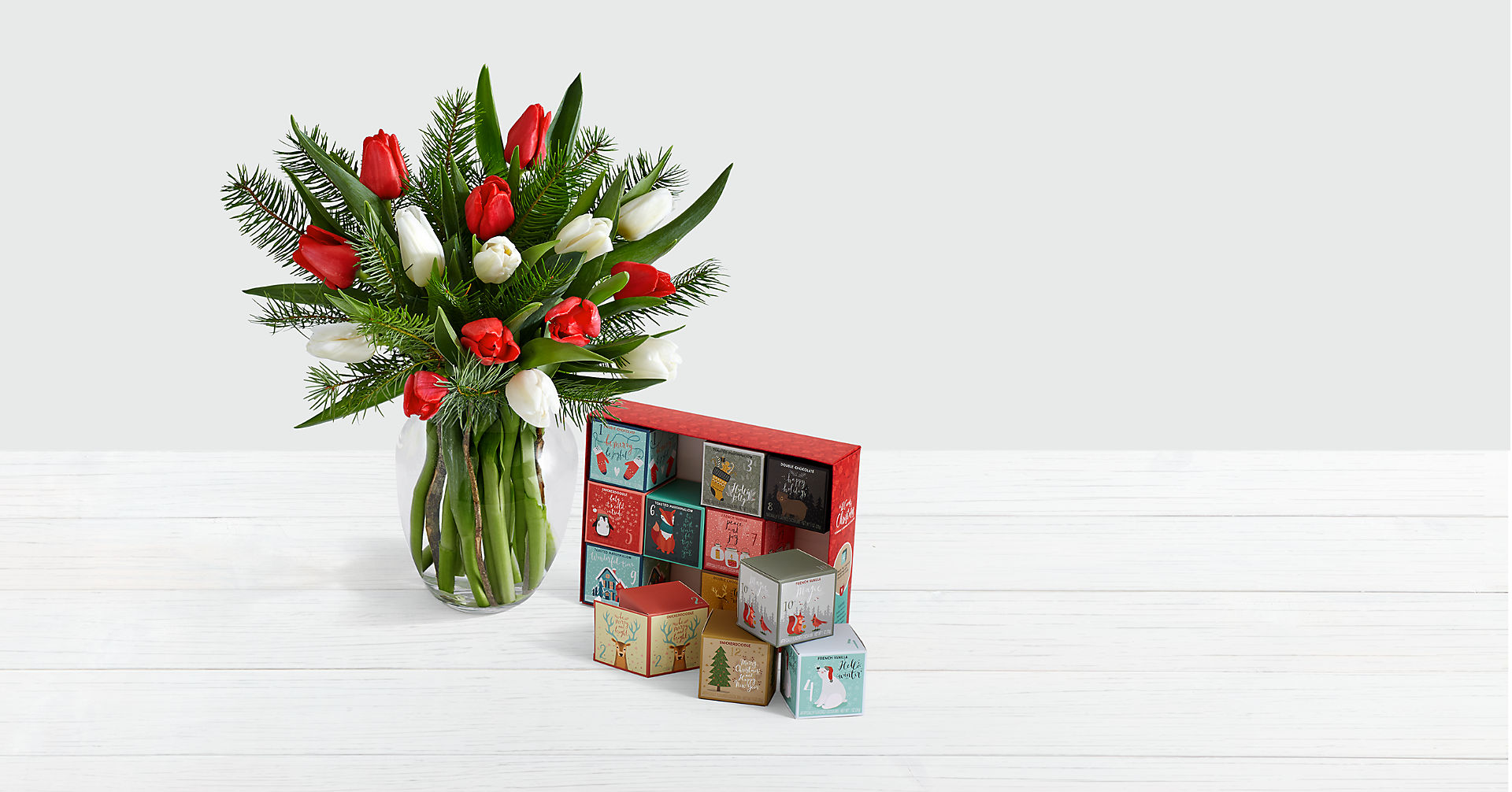 15 Christmas Tulips with Doug Fir with 12 Days of Christmas Cocoa - Image 1 Of 2