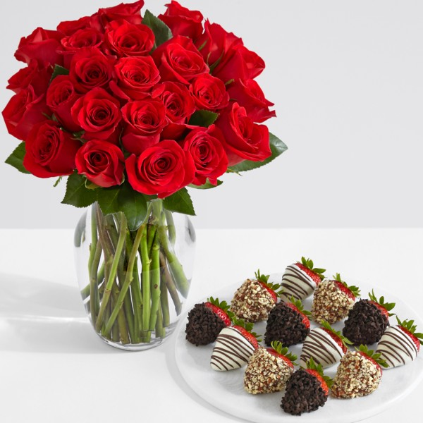 24 Red Roses with 12 Fancy Strawberries