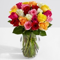 Deals on Two Dozen Colorful Roses with FREE Glass Vase