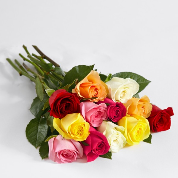 One Dozen Rainbow Roses with Ruby Ombre Vase and Chocolates - Image 2 Of 4