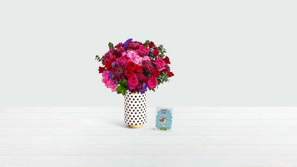 Bacata Pink Gardens with Limited Edition 20th Birthday Vase & Enamel Pin