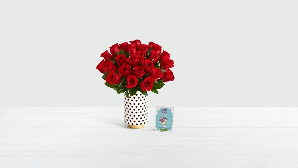 24 Long Stem Red Roses with Limited Edition 20th Birthday Vase & Enamel Pin