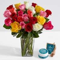 Deals on Two Dozen Long Stemmed Colorful Roses w/Square Glass Vase & Spa