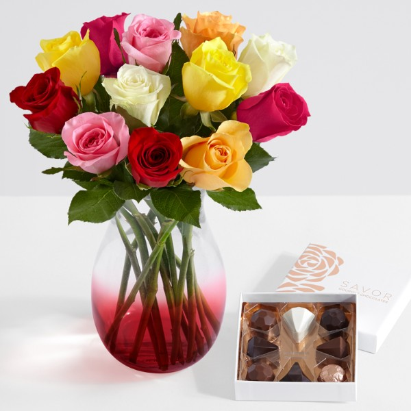 One Dozen Rainbow Roses with Ruby Ombre Vase and Chocolates - Image 1 Of 4