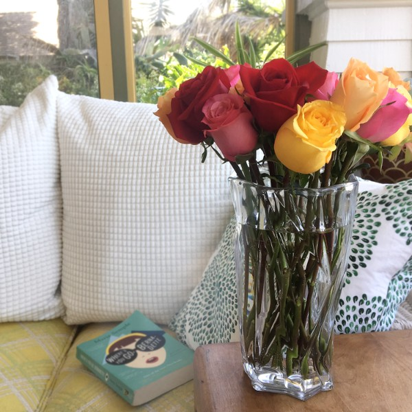 One Dozen Rainbow Roses with Ruby Ombre Vase and Chocolates - Image 3 Of 4