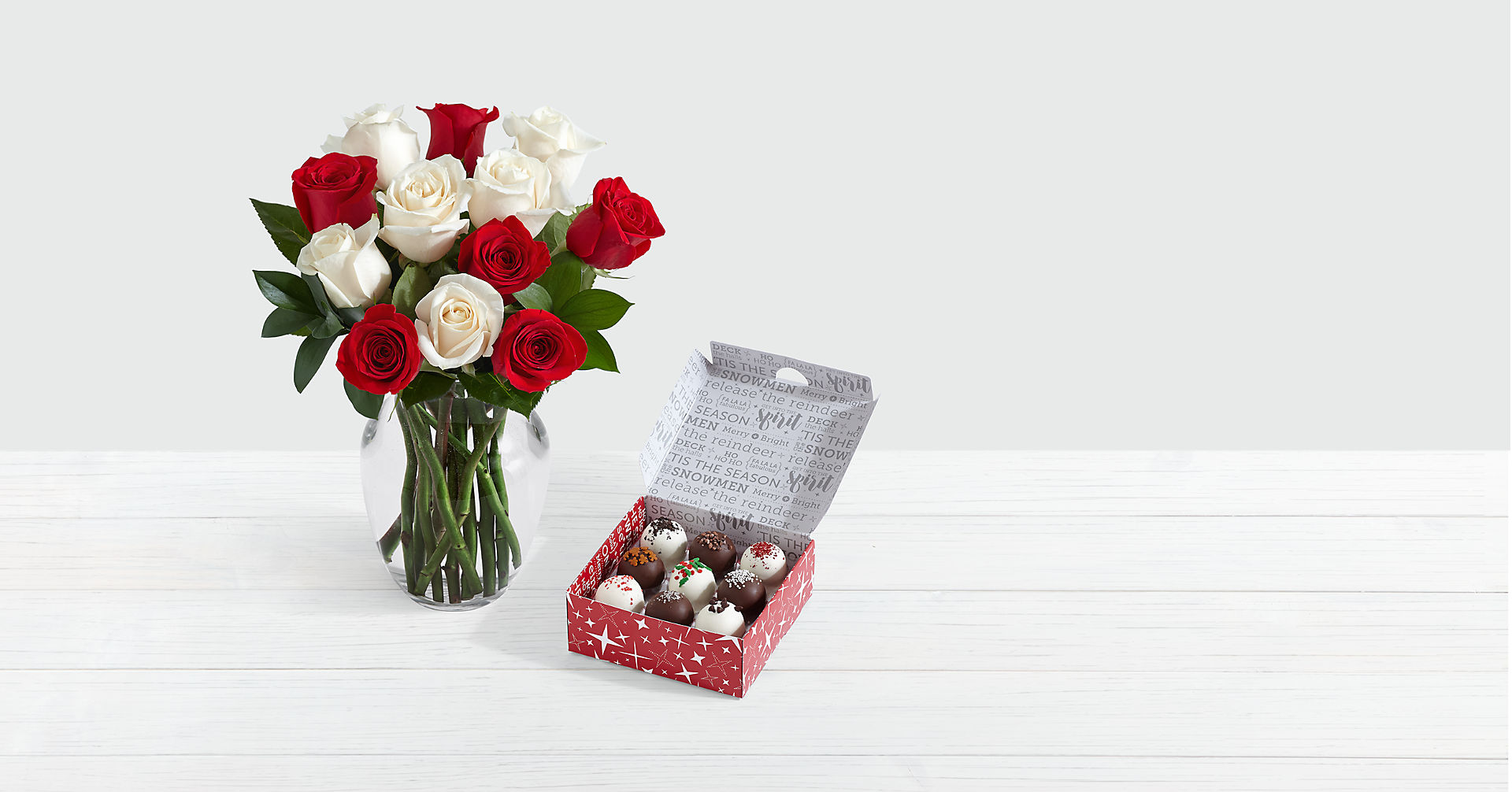 12 Candy Cane Roses with Christmas Cake Truffles
