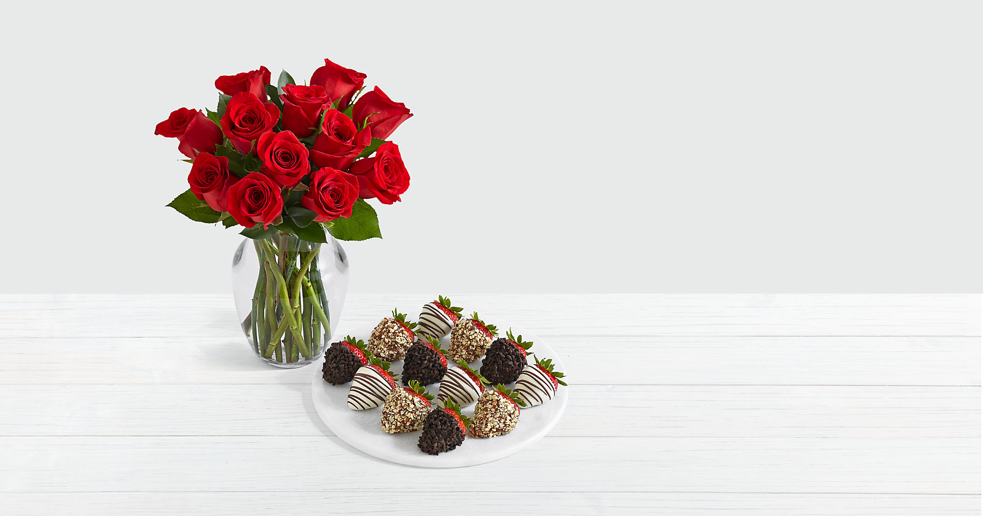 12 Red Roses with 12 Fancy Strawberries
