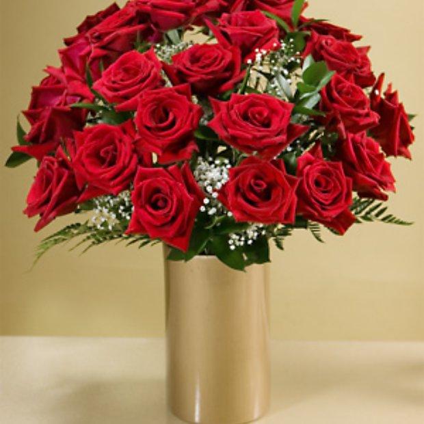 Two Dozen Long Stemmed Red Roses W Free Gold Ceramic Vase