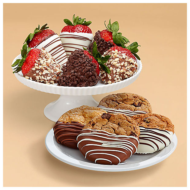 4 Dipped Cookies & Half Dozen Fancy Strawberries