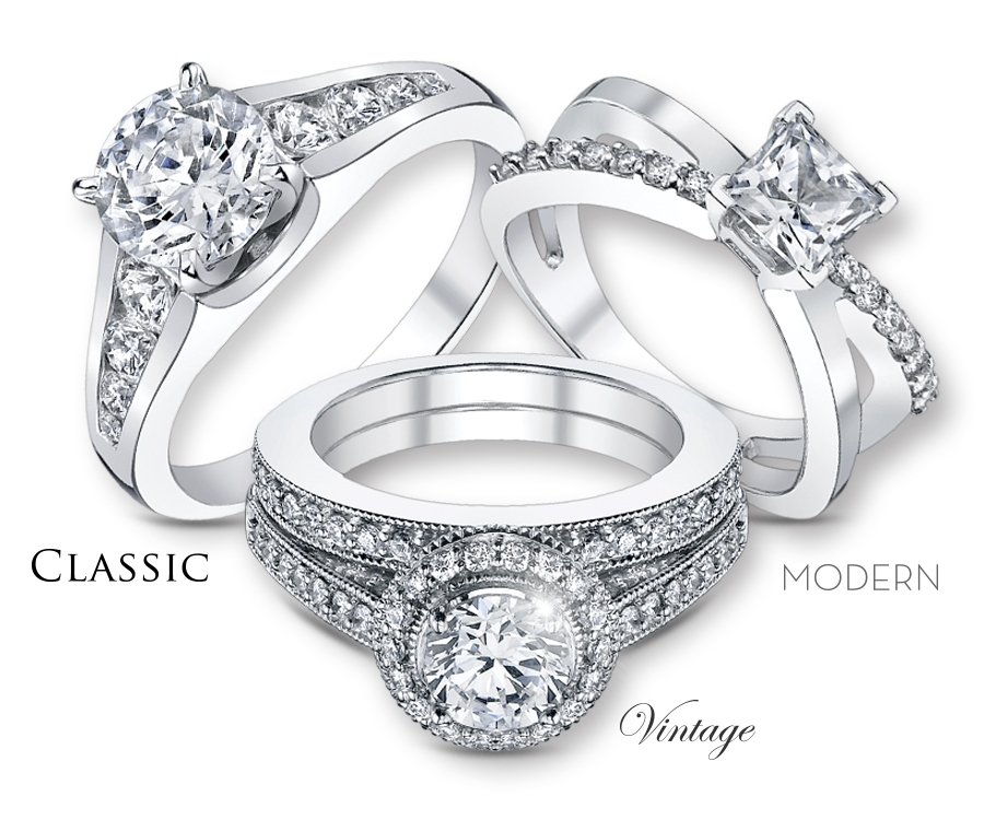 Engagement Ring In Vintage Or Modern Or Classic Style
