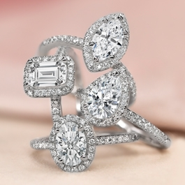 Poem 14k White Gold Diamond Engagement Ring