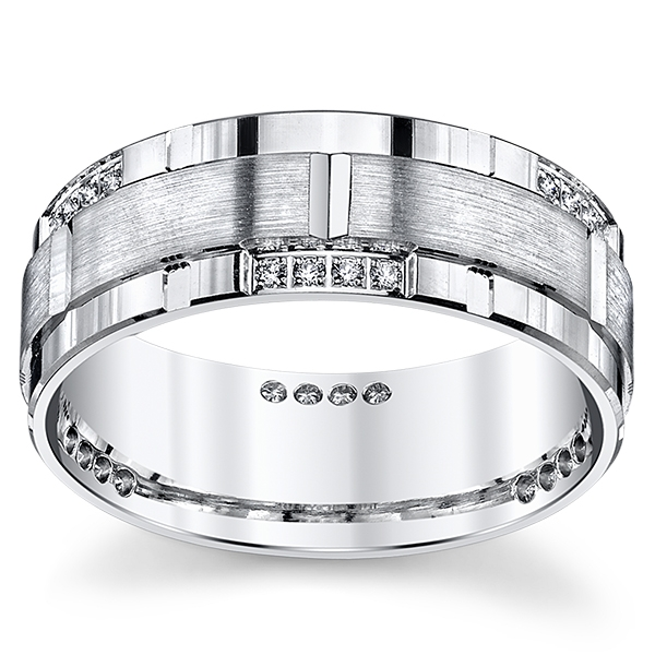 Gravure 14K White Gold Diamond Wedding Band 1/5 CTW