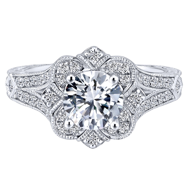 Gabriel & Co. 14K White Gold Diamond Engagement Ring Setting 1/2 cttw