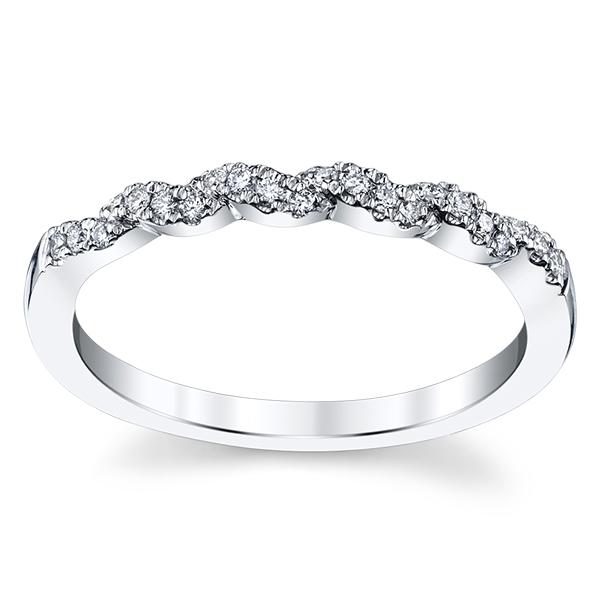 Stacked 14K White Gold Diamond Wedding Band 1/10 cttw