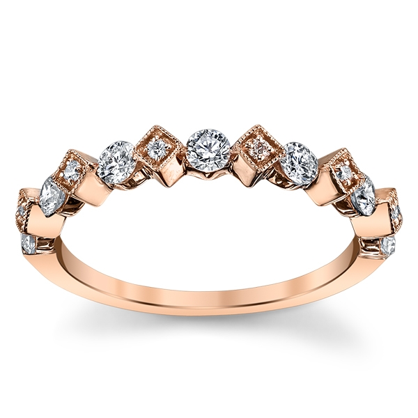 Stacked 14K Rose Gold Diamond Wedding Band 3/8 cttw