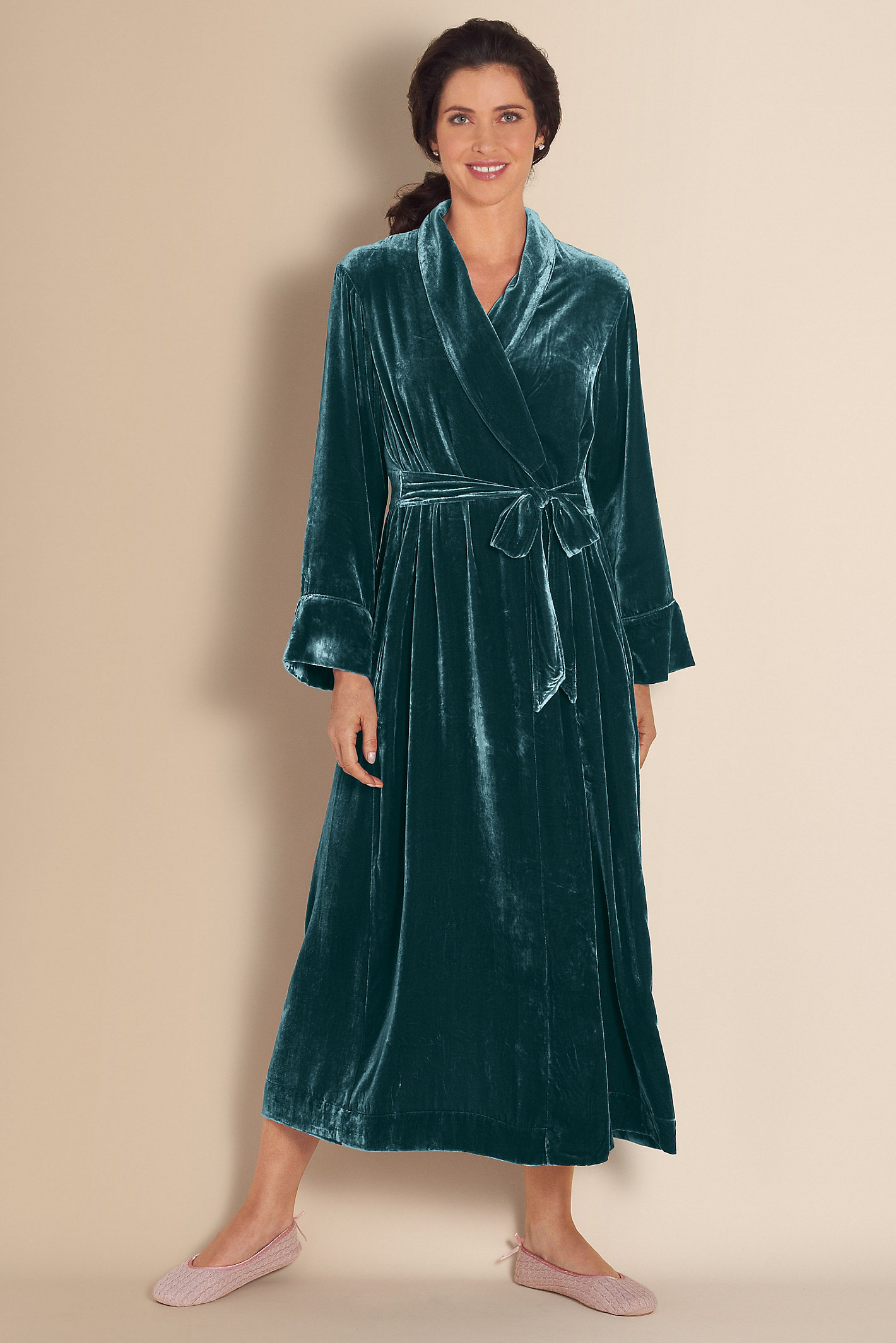 Petite Silk Velvet Robe