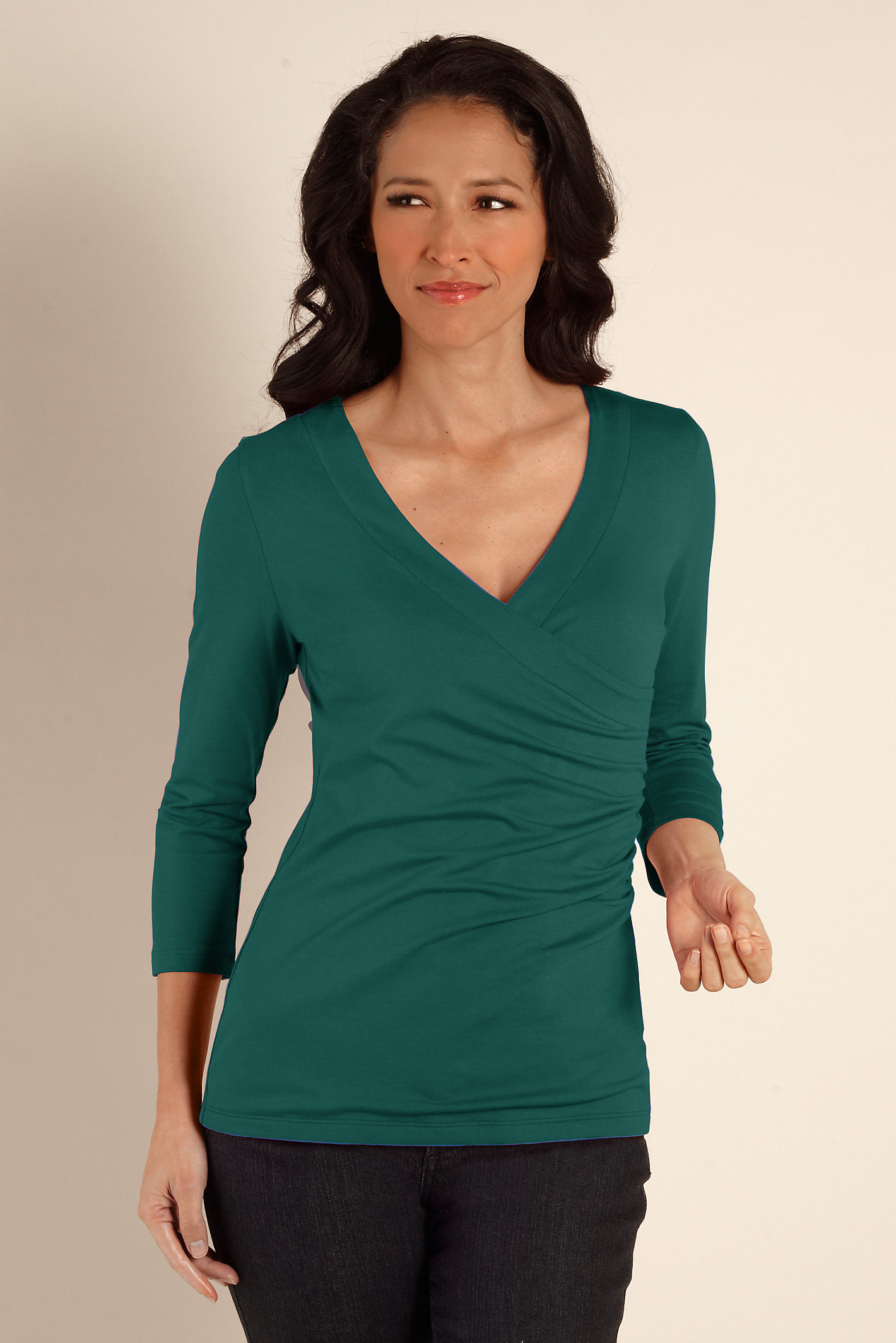 3/4 Sleeve Shaply Surplice Top