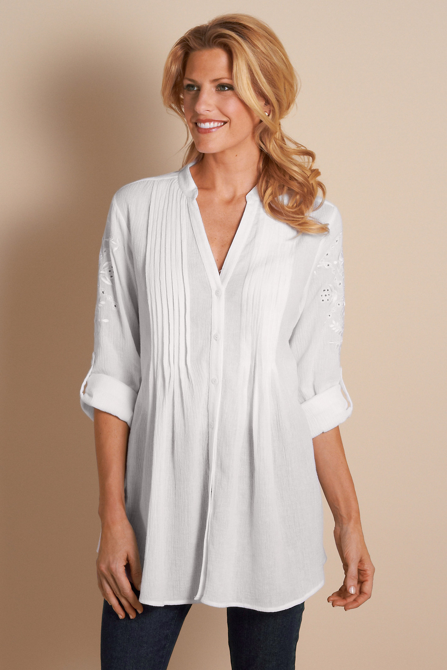 Petite Embroidered Gauze Shirt