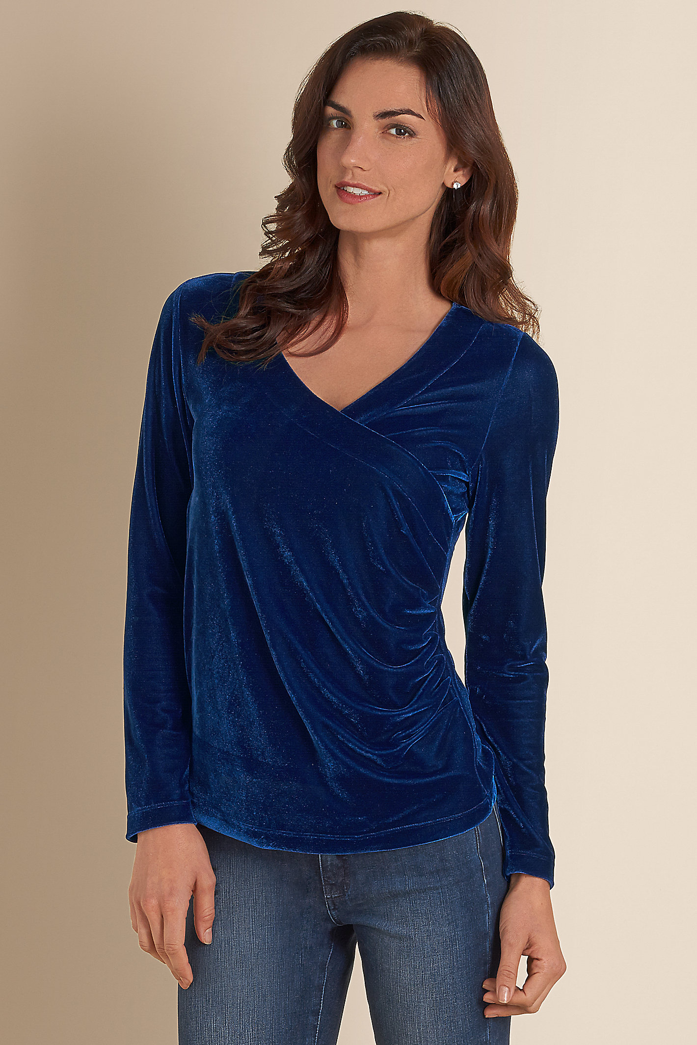 Women Velvet Shapely Stretch Top