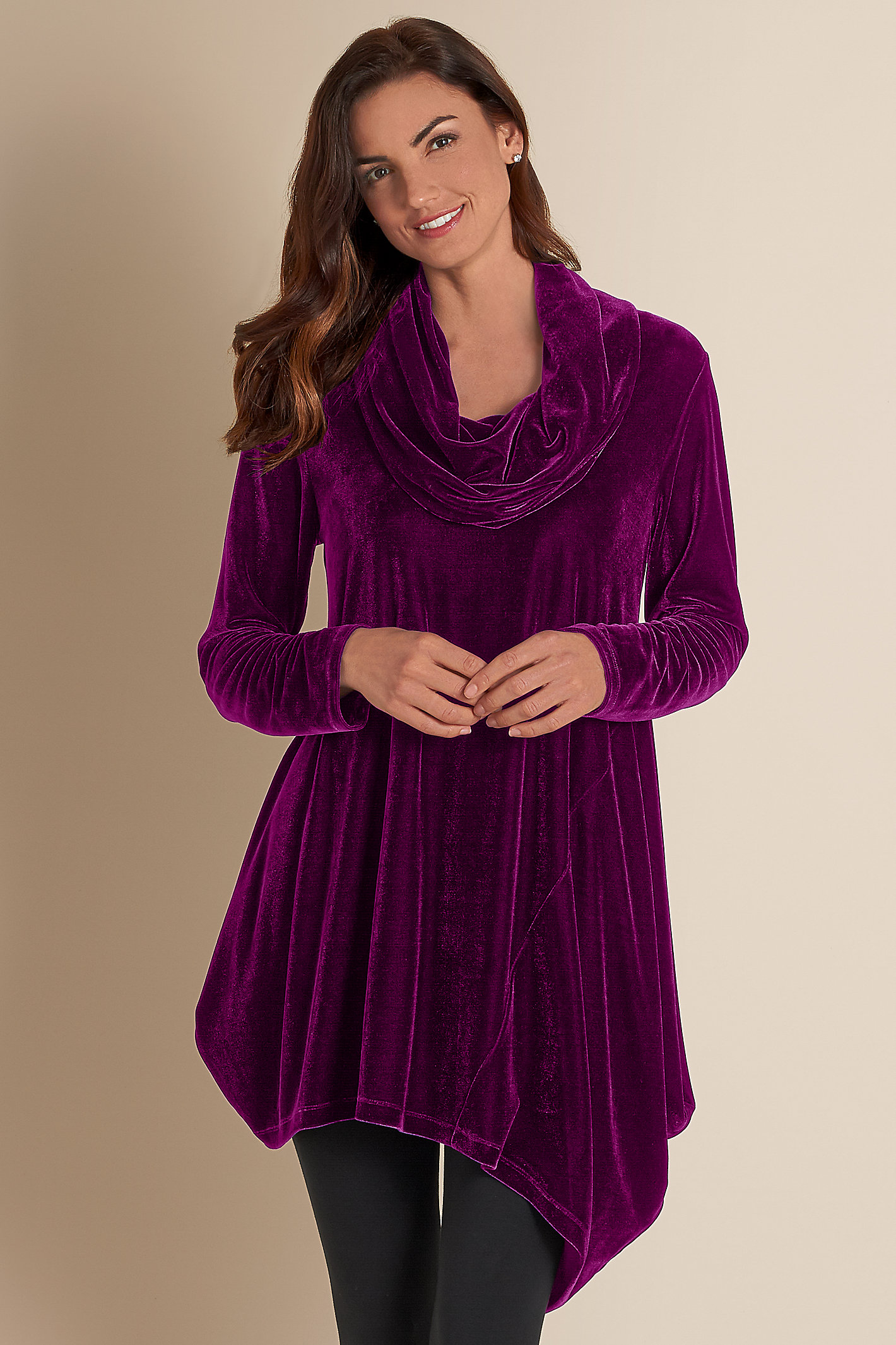 Women Velvet Asymmetrical Tunic